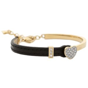 Guess Gold & Black Leather Bangle
