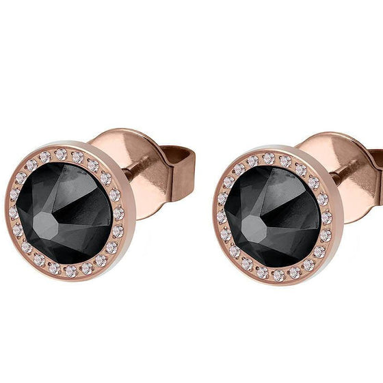 Qudo Canino Deluxe 10.5mm Rose Gold Stud Earrings  - Graphite