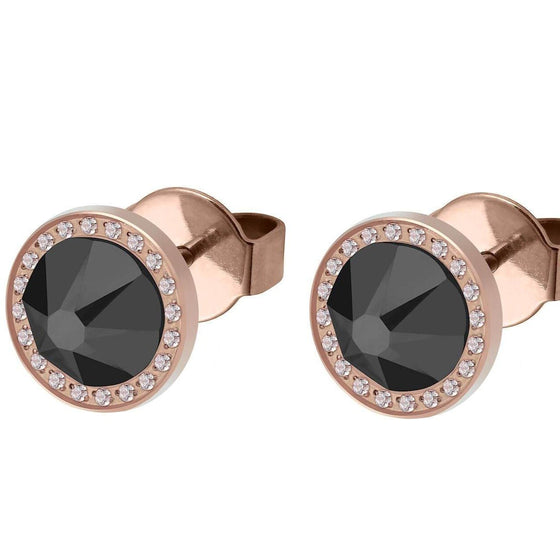 Qudo Canino Deluxe 10.5mm Rose Gold Stud Earrings  - Jet