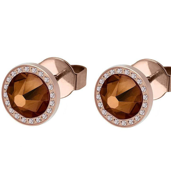 Qudo Canino Deluxe 10.5mm Rose Gold Stud Earrings  - Smoked Topaz