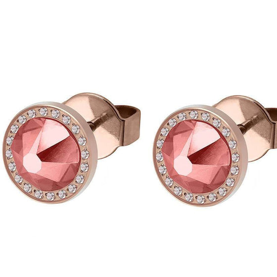 Qudo Canino Deluxe 10.5mm Rose Gold Stud Earrings - Rose Peach