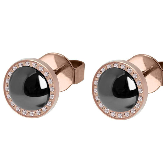 Qudo Canino Deluxe 10.5mm Rose Gold Stud Earrings  - Jet Hematite Pearl