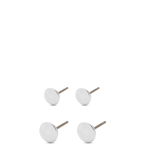 Diameter: 4 mm and 5 mm. Two Pairs Simple round shaped gold plated pin in earrings with shiny texture. This set has two pairs of earrings in different sizes.