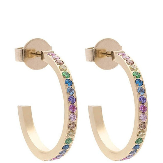 Qudo Rainbow Thin Hoop Earrings - Gold
