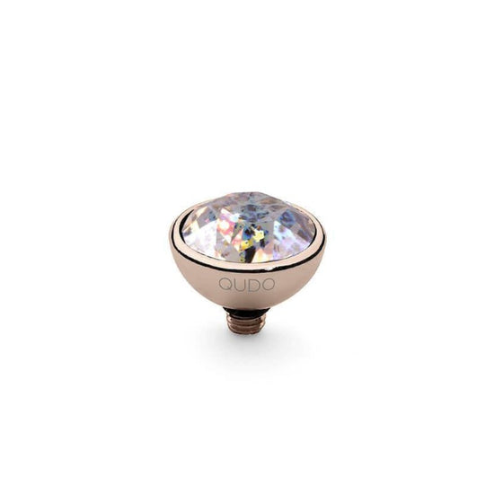 Qudo Bottone 10mm Rose Gold Topper - White Patina