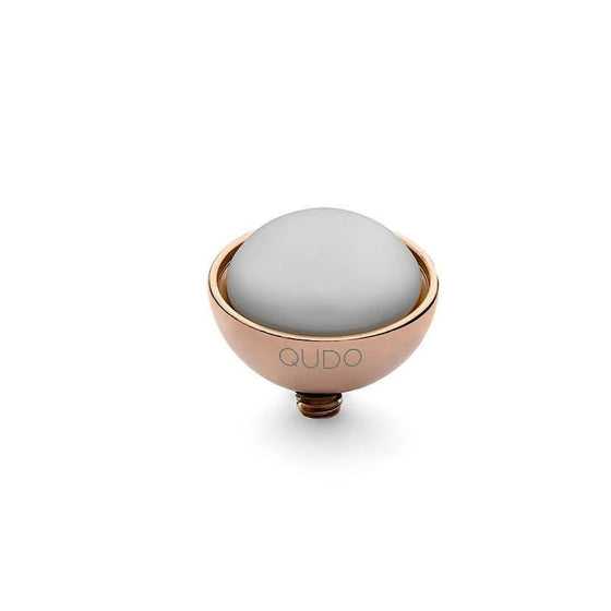Qudo Bottone 11.5mm Rose Gold Topper - Pastel Grey Pearl