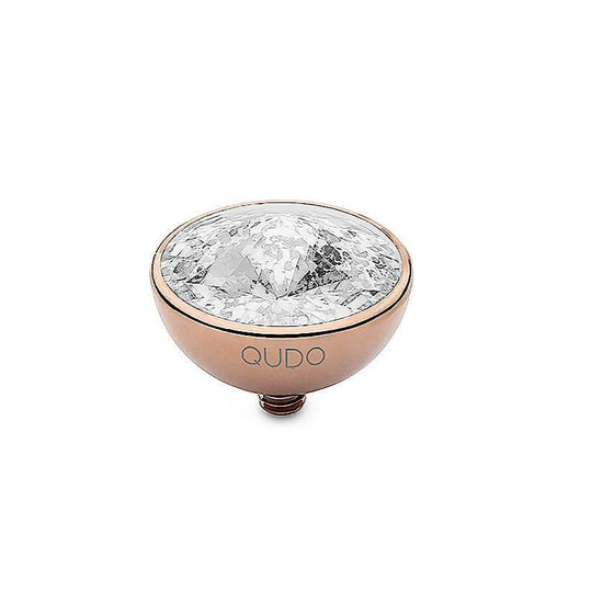 Qudo Bottone 13mm Rose Gold Topper - Silver Patina