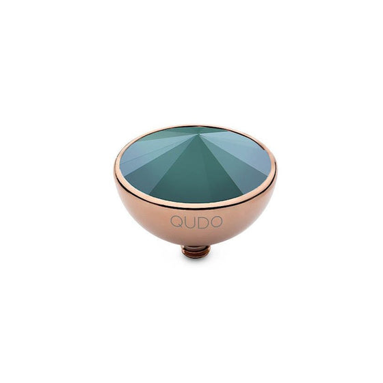 Qudo Bottone 13mm Rose Gold Topper - Royal Green