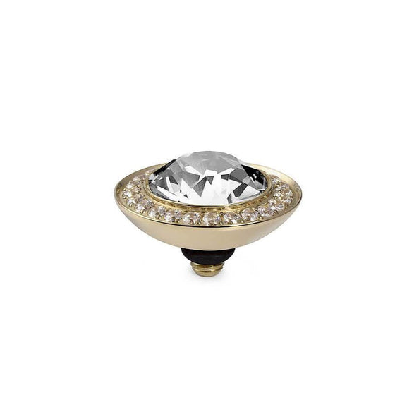 Qudo Tondo Deluxe 13mm Gold Topper - Clear Crystal