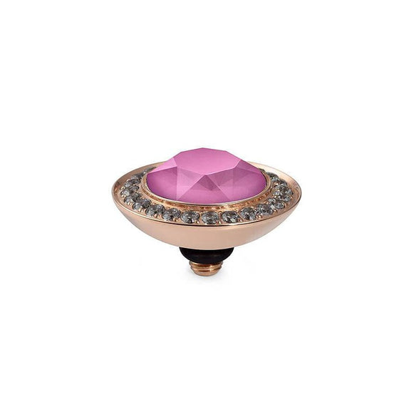 Qudo Tondo Deluxe (dark setting) 13mm Rose Gold Topper - Peony Pink