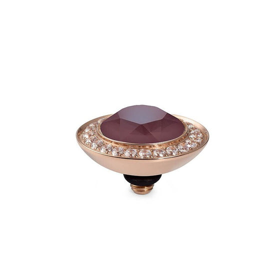 Qudo Tondo Deluxe 13mm Rose Gold Topper - Dark Red
