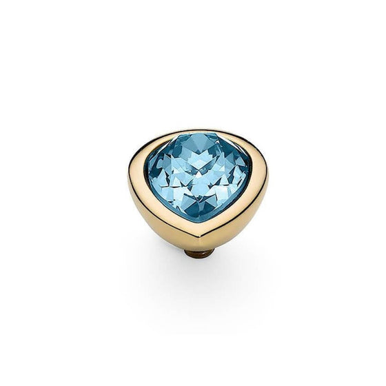 Qudo Goccia (pear) 9x12mm Gold Topper - Aquamarine