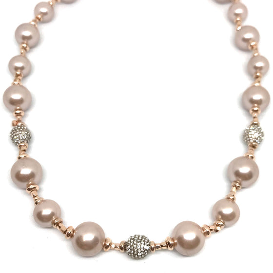 Absolute Pink Pearl & Rose Gold Necklace - Short