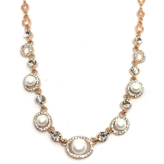 Absolute Rose Gold & Pearl Oval Link Necklace