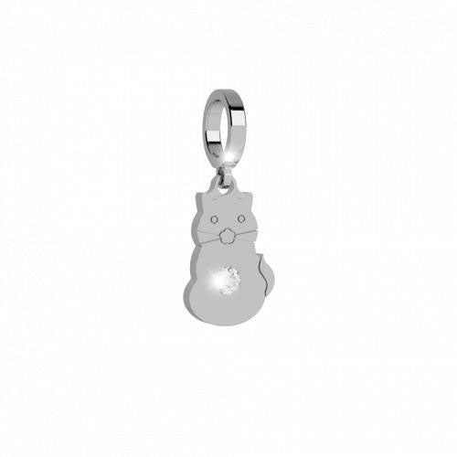 Rebecca My World Silver Cat Charm