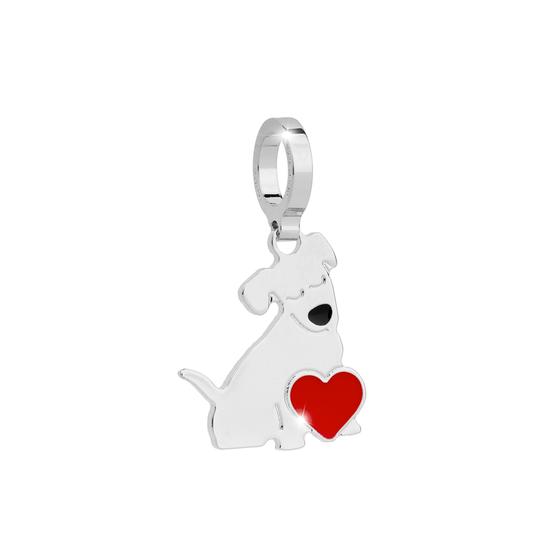 Rebecca My World Silver Dog Heart charm