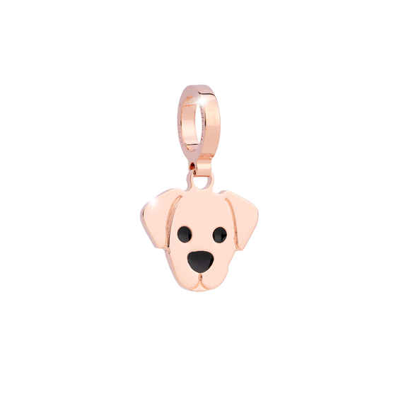 Rebecca My World Rose Gold Puppy Dog Charm