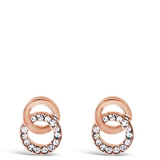 Absolute Rose Gold Double Cirlce Stud Earrings