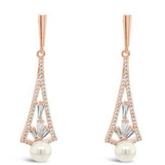 Absolute Rose Gold & Pearl Long Earrings