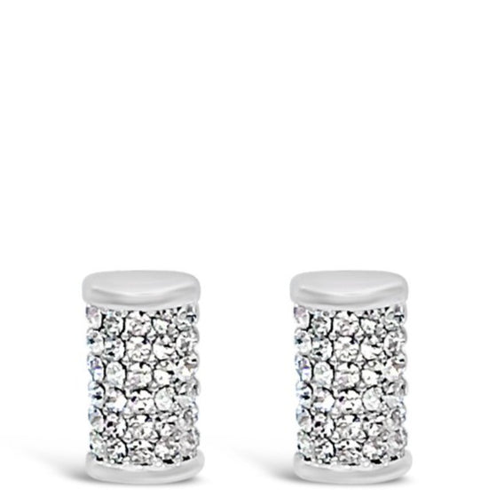 Absolute Silver Barrel Stud Earrings