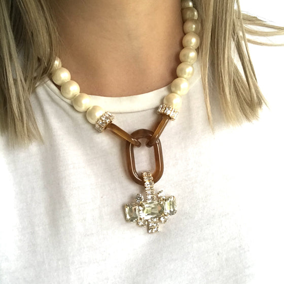 Nour Pearl & Ginger Statement Necklace