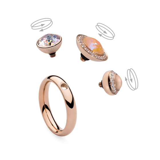 Qudo Sesto 10mm Rose Gold Topper - Clear Crystal