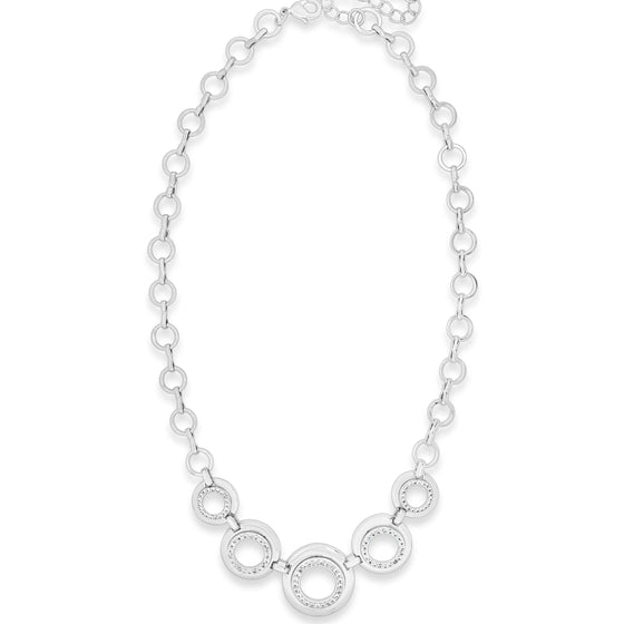 Absolute Silver Cubic Zirconia Set Circles Necklace