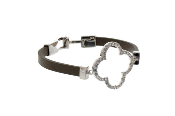 Nour Clover Motif Leather Bracelet