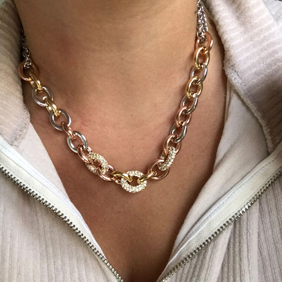 Nour Chunky Pave Chain Necklace - Multi