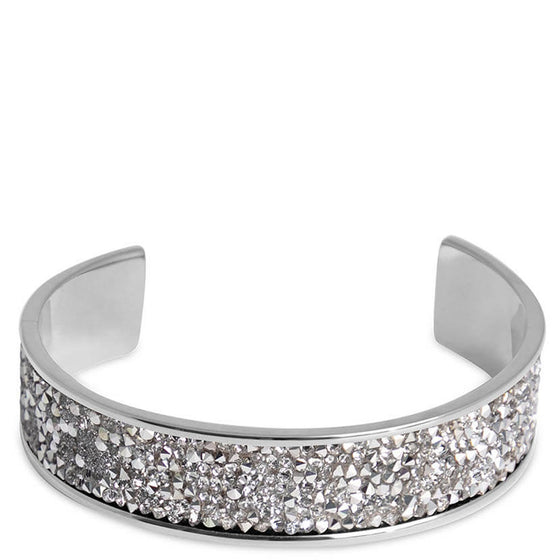 Qudo Tirano Silver Bangle - Clear Crystal