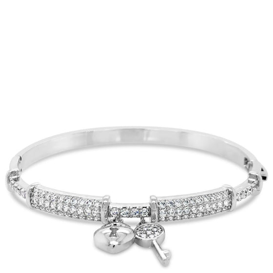Absolute Silver Heart & Key Bangle