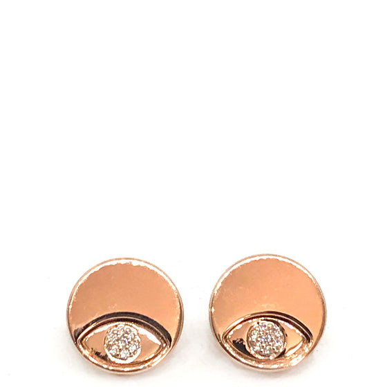Absolute Rose Gold Disc Stud Earrings