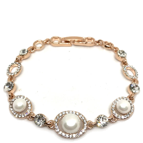 Absolute Rose Gold & Pearl Oval Link Bracelet
