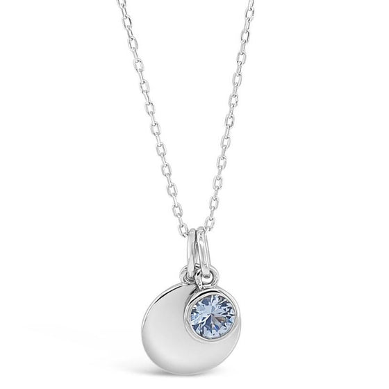 Absolute Sterling Silver Birthstone Necklace - March