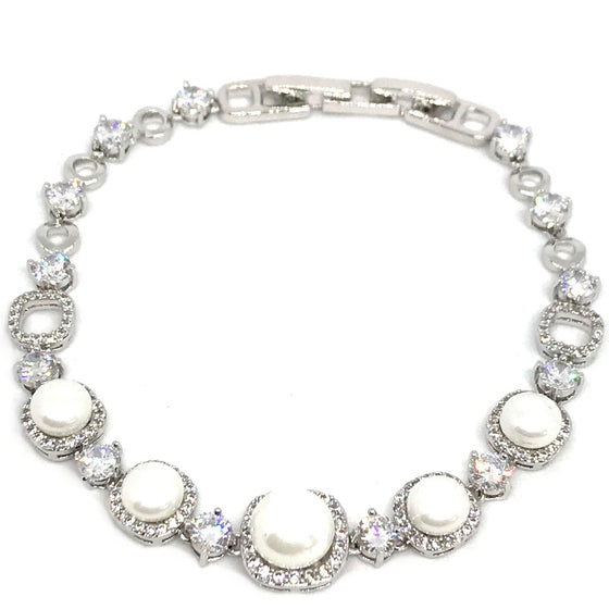 Absolute Silver Boxy Link Pearl Bracelet