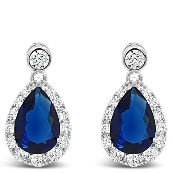 e2066mb Absolute Silver Oval Blue Drop Earrings