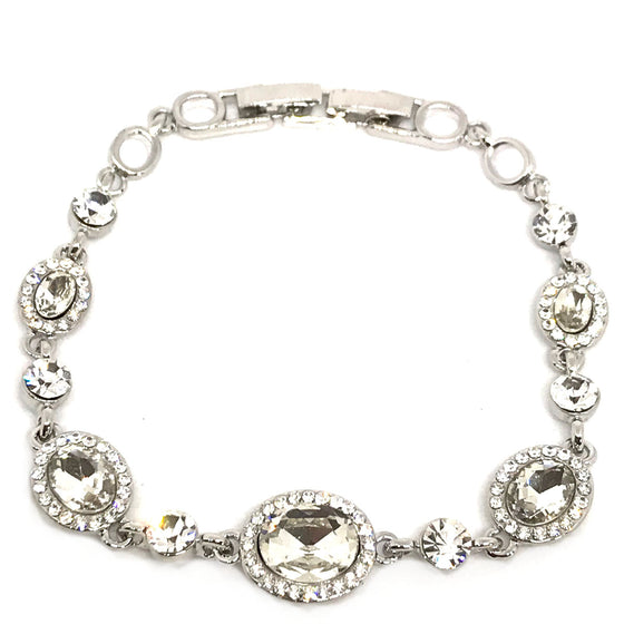 Absolute Silver Oval Halo Bracelet
