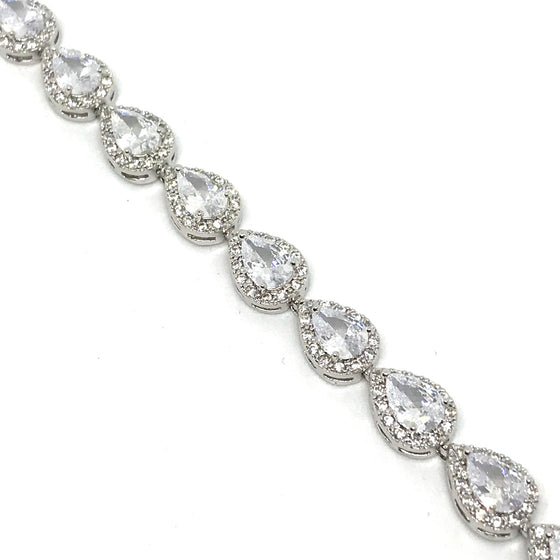Absolute Silver Pear Drop Crystal Bracelet
