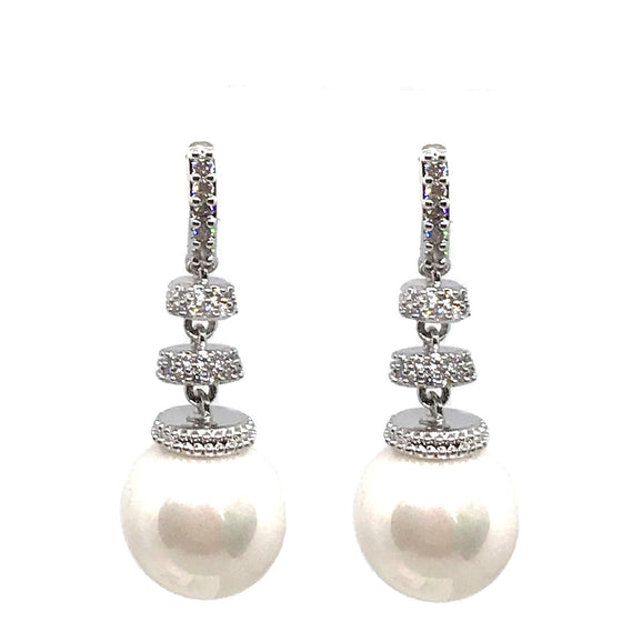 Absolute Silver & Pearl Drop Earrings