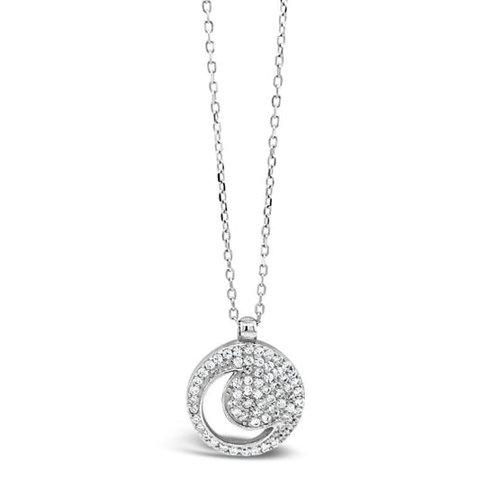 Absolute Sterling Silver Moon Pendant Necklace