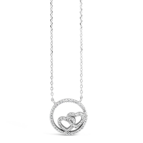 Absolute Sterling Silver Double Heart Necklace