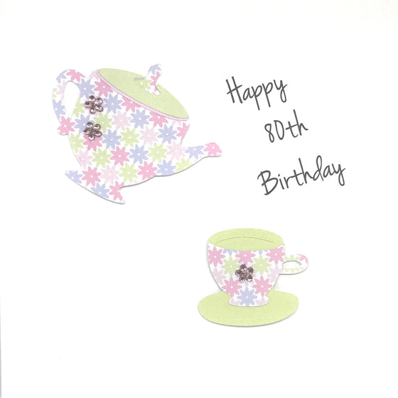 Happy 80th Birthday Card - Tea Cups