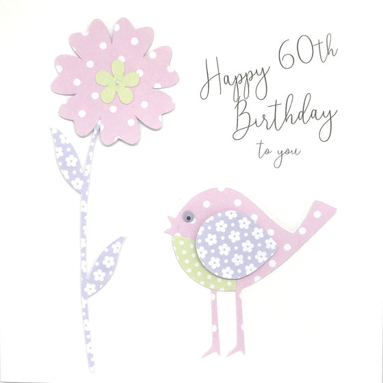 Happy 60th Birthday Card - Little Bird