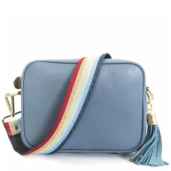 Elie Beaumont Blue Leather Bag - Rainbow Strap