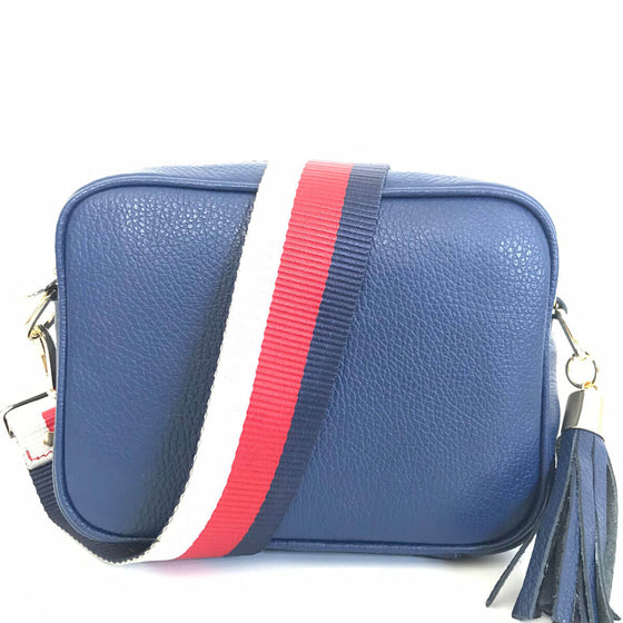 Elie Beaumont Navy Leather Bag - Tricolour Strap