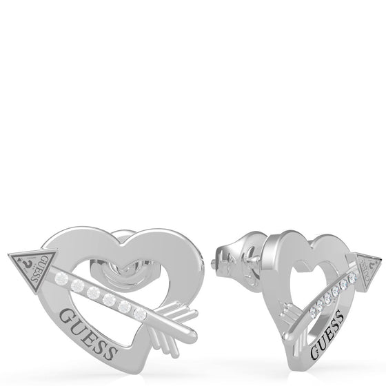 Guess Across My Heart Silver Stud Earrings
