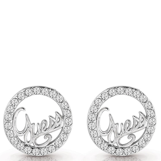 Guess Authentic Logo Silver Stud Earrings