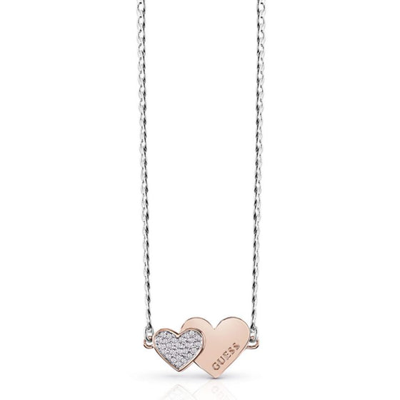 Guess Double Heart Rose Gold & Silver Necklace