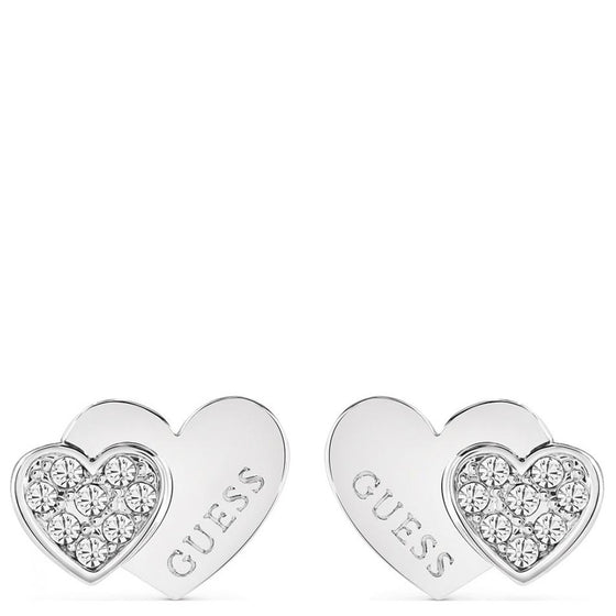 Guess Me & You Silver Stud Earrings
