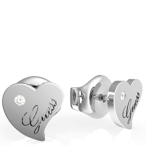 Guess Queen of Heart Silver Stud Earrings